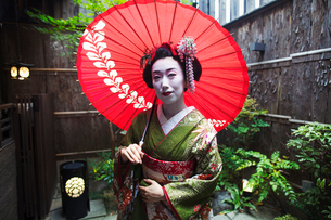 A woman dressed in the traditional geisha style, wearing a kimono and obi, with an elaborate hairstyの写真素材 [FYI02254415]