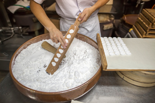 A small artisan producer of wagashi. A woman chef mixing a large bowl of ingredients and pressing thの写真素材 [FYI02254669]