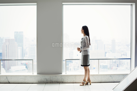 A business woman in a dress by a window with a view over a cityの写真素材 [FYI02254714]