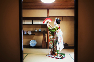 A woman dressed in the traditional geisha style, wearing a kimono and obi, with an elaborate hairstyの写真素材 [FYI02254776]