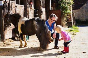 Woman showing a toddler a pony's shoe.の写真素材 [FYI02255385]
