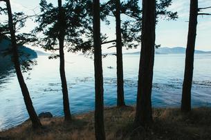 Man sea kayaking in the distance near San Juan Islands, Washington, USA.の写真素材 [FYI02255504]