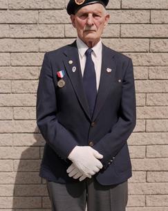 Portrait of elderly WWII veteranの写真素材 [FYI02255830]