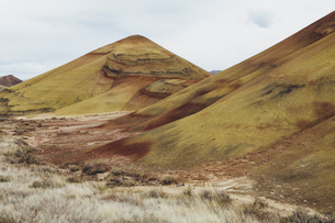 The Painted Hills desert and landscape, coloured layered geological strata in the John Day Fossil Beの写真素材 [FYI02255926]