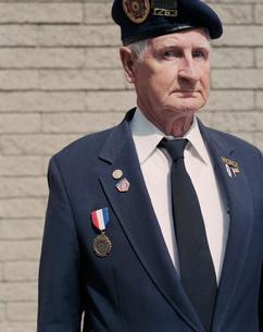 Portrait of elderly Korean War veteranの写真素材 [FYI02256065]