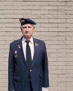 Portrait of elderly Korean War veteranの写真素材 [FYI02256396]