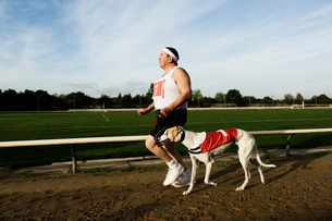 Man in sportswear running on a racetrack, with a white greyhound wearing red bib with number one.の写真素材 [FYI02256838]