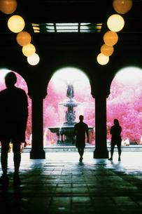 Colour infrared image of the archways and fountain in Central Park, New York city.の写真素材 [FYI02257028]
