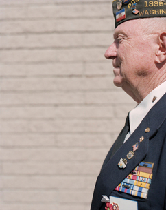 Portrait of elderly Korean War veteranの写真素材 [FYI02257039]