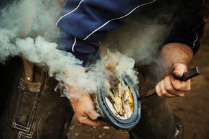 A farrier shoeing a horse, bending down and fitting a new horseshoe to a horse's hoof.  Steam from tの写真素材 [FYI02257072]