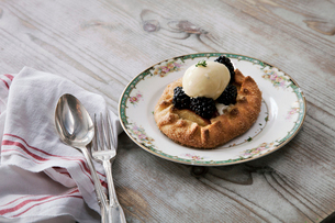 A pastry desert with fruit and ice cream on a china plate on a tabletop.の写真素材 [FYI02257143]