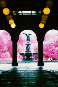 Archway and water fountain in Central Park, New York City.の写真素材 [FYI02257250]