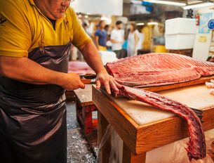 A traditional fresh fish market in Tokyo. A fishmonger working filleting a large fish on a slab. Peoの写真素材 [FYI02257253]