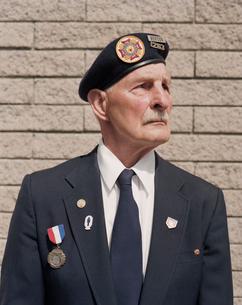 Portrait of elderly WWII veteranの写真素材 [FYI02257371]