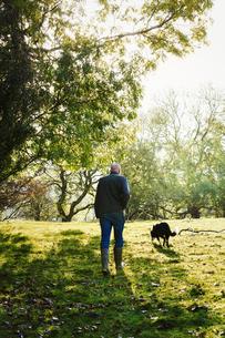 Rear view of sheep farmer, shepherd walking across a meadow with his sheepdog.の写真素材 [FYI02257713]
