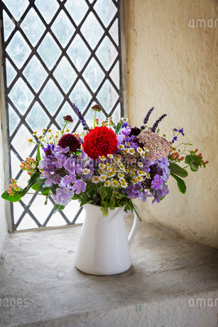 Close up of flower bouquet in a white jug on a windowsill.の写真素材 [FYI02257776]
