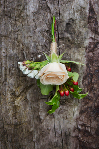 Close up of a boutonniere buttonhole with pale pink rose.の写真素材 [FYI02257865]