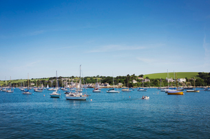 View from see towards land with moored sailing boats in bay.の写真素材 [FYI02258227]