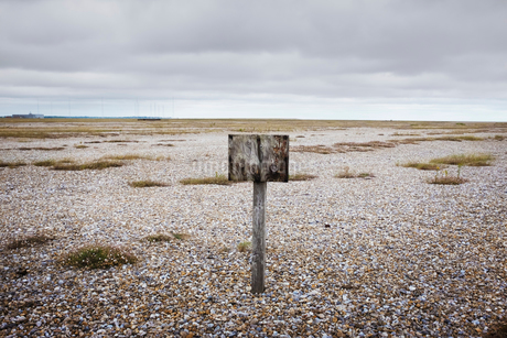 Old weathered wooden sign on pebble beach.の写真素材 [FYI02258349]
