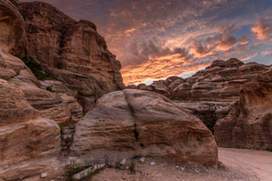 Rock formations, sandstone cliffs in the Wadi Rum desert wilderness in southern Jordan at sunset.の写真素材 [FYI02258924]