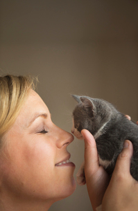A woman holding a small grey kitten up to her face and touching noses.の写真素材 [FYI02258976]