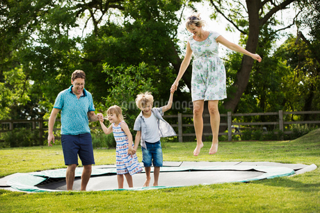 Man, woman, boy and girl holding hands, jumping on a trampoline set in the lawn in a garden.の写真素材 [FYI02258984]