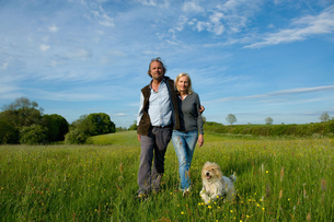 Man and woman walking arm in arm across a meadow, small dog running beside them.の写真素材 [FYI02259519]