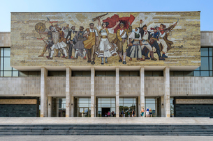 Mural above the entrance at the National History Museum of Albania, by a collective of five Albanianの写真素材 [FYI02259625]
