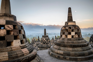 Borobudur temple, a 9th century Buddhist temple with terraces and stupa with latticed exterior, bellの写真素材 [FYI02259878]