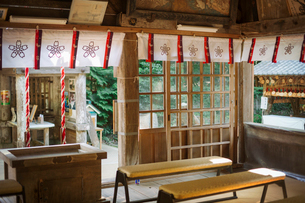 Interior view of Shinto Sakurai Shrine, Fukuoka, Japan.の写真素材 [FYI02260292]
