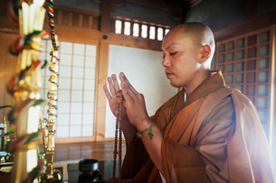Side view of Buddhist monk with shaved head wearing golden robe kneeling indoors in a temple, holdinの写真素材 [FYI02260419]