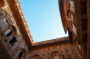 Low angle view of the 15th century Mehrangarh Fortress, Jodhpur, India.の写真素材 [FYI02260426]