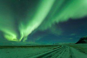Night sky with green Northern Lights, Aurora Borealis over winter landscape.の写真素材 [FYI02260609]