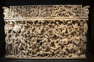 Close up of Portonaccio Sarcophagus, Museo Nazionale Romano, Rome, Italy.の写真素材 [FYI02260680]