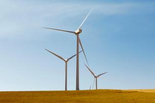 Tall wind turbines in open country farmland in Washington.の写真素材 [FYI02260970]