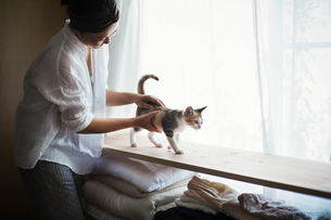 Woman indoors, holding calico cat with white, black and brown fur walking along a shelf.の写真素材 [FYI02260981]