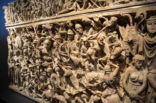 Close up of Portonaccio Sarcophagus, Museo Nazionale Romano, Rome, Italy.の写真素材 [FYI02261036]