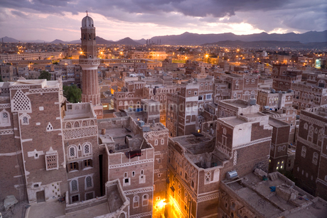 High angle view over rooftops of buildings in the old city of Sana'a in Yemen. A UNESCO world heritaの写真素材 [FYI02261088]