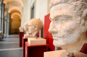 Close up of classical Roman busts in a gallery, Rome, Italy.の写真素材 [FYI02261132]