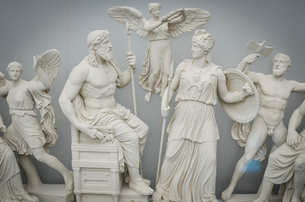 Classical Greek sculptures of gods and goddesses, Athens, Greece.の写真素材 [FYI02261138]