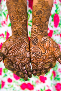High angle close up of female hands covered in Henna tattoos with intricate geometric, floral and foの写真素材 [FYI02261205]