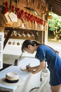 Young woman wearing blue dress writing on wooden fortune telling plaque at Shinto Sakurai Shrine, Fuの写真素材 [FYI02261447]