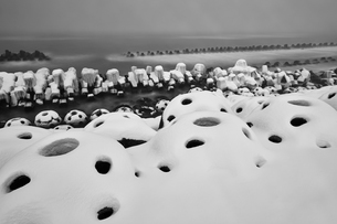 Snow-covered wave breakers on a rocky beach in winter.の写真素材 [FYI02261674]
