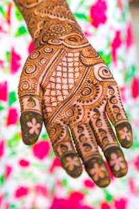 High angle close up of female hand covered in Henna tattoos with intricate geometric, floral and folの写真素材 [FYI02261704]