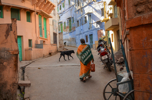 Urban street in Rajasthan, India, rear view of woman and dog walking.の写真素材 [FYI02261963]