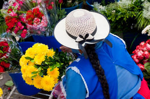 High angle view of woman wearing white hat and bright blue apron selling flowers in South American sの写真素材 [FYI02262041]