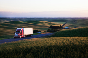 commercial truck driving though wheat fields of eastern Washington, USA at sunset.の写真素材 [FYI02262276]