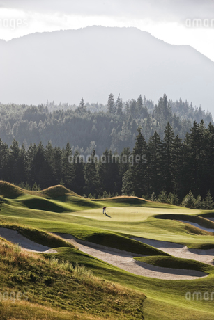 A view from a distance of a single golfer on a green of a golf course.の写真素材 [FYI02262279]
