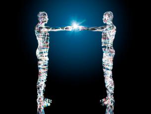 光り輝く二体の先進ロボットの合わせた指先が光るのイラスト素材 [FYI02262359]