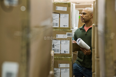 A black warehouse worker keeping track of boxed inventory in a distribution warehouse.の写真素材 [FYI02262543]